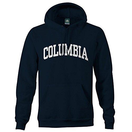 Navy University - Ivysport Columbia University Hooded Sweatshirt Classic Logo, 90% Cotton 10% Polyester, Navy, Hooded Sweatshirt, Small