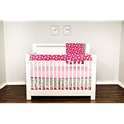 Woodland Girl - Pink and Grey Bumperless Crib Bedding with coordinating artwork.