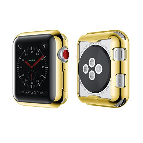 Apple Watch Series 2/3 Accessories, Sunfei Ultra-thin Electroplate Clear Tpu Screen Protector For Apple Watch Series 3 42MM/38MM (Gold, 38MM)