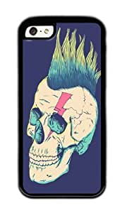 Apple Iphone 5C Case,WENJORS Awesome Skull Punk Soft Case Protective Shell Cell Phone Cover For Apple Iphone 5C - TPU Black