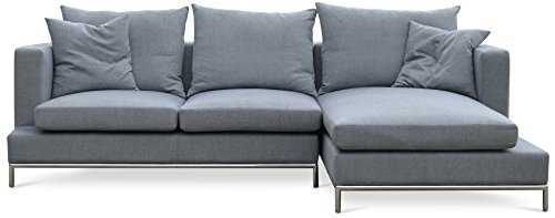 Soho Concept SimenaC-CPST-StBW Simena Condo Sectional Sofa with Chrome Plated Steel Tubes Base, Stone Brick Wool (Furniture Condo Brick)