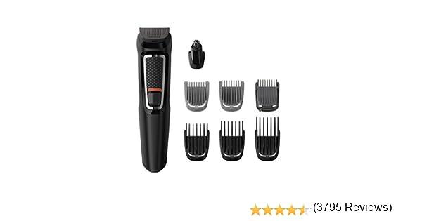 Philips MG3730/15 Recortadora para barba y pelo, 8 en 1, accesorios para nariz y orejas, cortapelos cara, y cabeza, 60 minutos de autonomía, Negro: Philips: Amazon.es: Electrónica