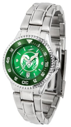Colorado State Rams Competitor AnoChrome Ladies Watch with Steel Band and Colored Bezel by SunTime