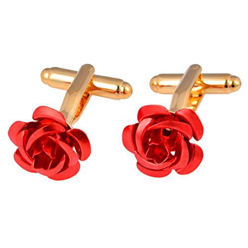 Designer Gold Plated Cufflinks - Yoursfs Red Rose Flower Cufflinks Gold Plated Cufflinks Dress Shirts for Men Wedding Business