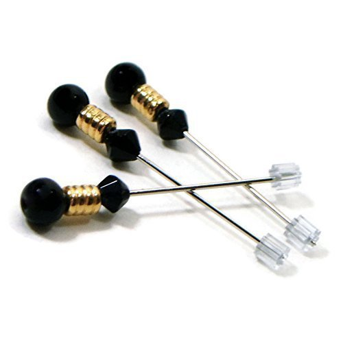 (Black and Gold Handmade Beaded Counting Pins, Marking Needles for Cross Stitch and Needlepoint)