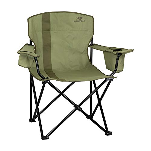 Mossy Oak XL Heavy Duty Camping Chair With Cooler & Oversized Seat, Dirt/Bark, One Size