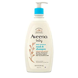 Aveeno Baby Gentle Wash & Shampoo with Natural Oat Extract, Tear-Free & Paraben-Free Formula For Hair & Body, Lightly Scented, 18 fl. oz