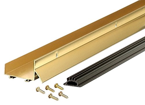 Brass Door Sweep - M-D Building Products 6478 U-Shaped Door Bottom with Drip Cap DCV 134, 36 Inches, Brite Gold