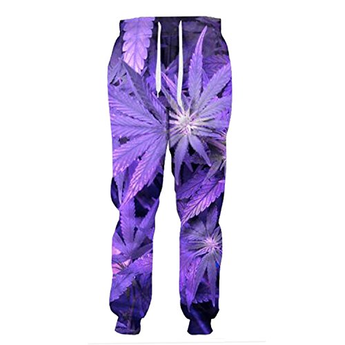Hot Frozac Weed Leaf Plant 3D Pants Largos Hombres Casual Mens Pants Purple Joggers XXL