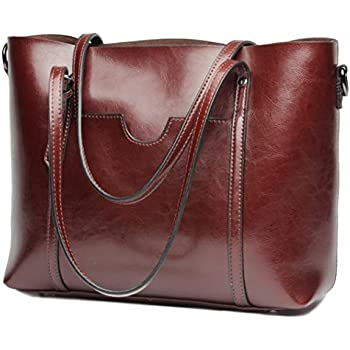 7c72174433c1 Covelin Women s Handbag Genuine Leather Tote Shoulder Bags Large Capacity  Wine red