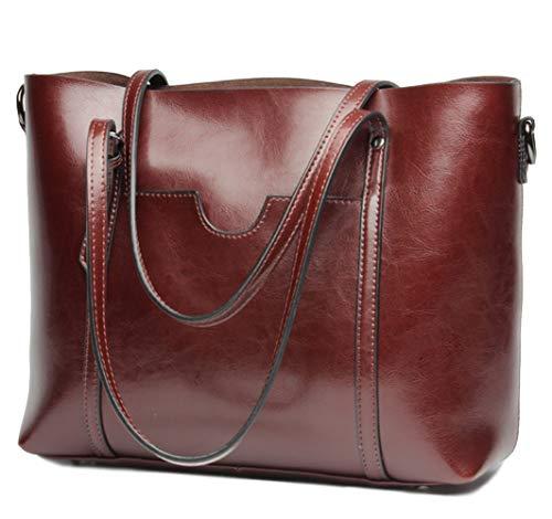 (Covelin Women's Handbag Genuine Leather Tote Shoulder Bags Large Capacity Wine red)