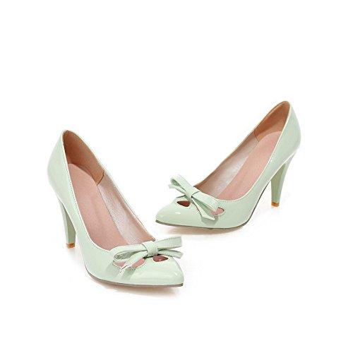 BalaMasa donna slip-on high-heels solido morbido materiale pumps-shoes, Verde (LightGreen), 35