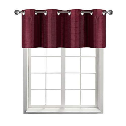 Rama Rose Faux Silk Solid Grommets Blackout Curtain Valance - Window Treatment for Living Room, Short Straight Drape Valance, Set of 1, for Dorm 52 X 18 Inch, Burgundy (And Drapes Room Living Valances)