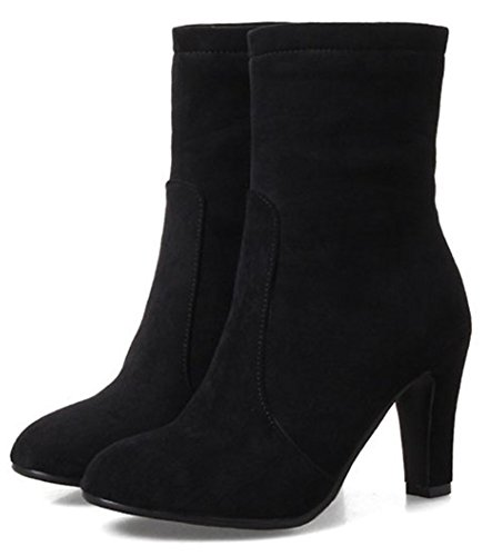 Up Zip Black High Zipper Aisun Dressy Round Boots Toe Suede Inside Short With Faux Heel Simple Women's Chunky x4pz8