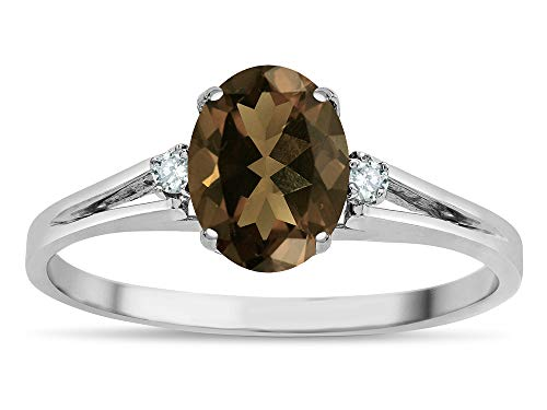 Smoky Quartz Oval Split Shank Ring - Star K Oval 8x6 Genuine Smoky Quartz Split Shank Three Stone Engagement Promise Ring 14k White Gold Size 4.5