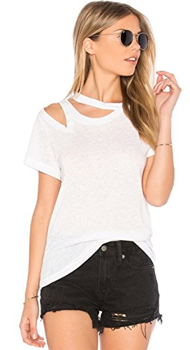 Asimétrico Distressed Cut Off con Aberturas Manga Corta T-Shirt Camiseta Playera Tee Top Blanco Blanco