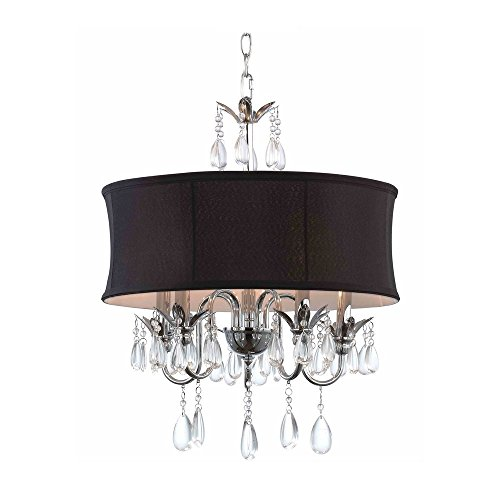 Black Drum Shade Crystal Chandelier Pendant Light Ashford Drum