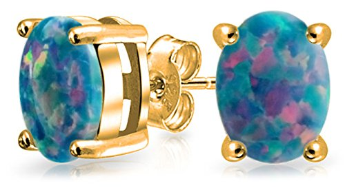 Black Created Opal Round Solitaire Stud Earrings Basket Set 925 14K Gold Plated Sterling Silver 7MM October Birthstone