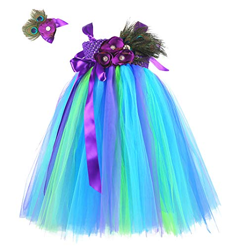 (Tutu Dreams Peacock Costume Girls Birthday Party Mardi Gras Carnival Holiday (L,)