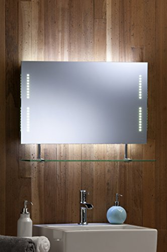 neue design led bathroom mirror with shelf shaver socket and