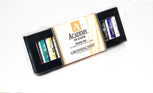 Grumbacher Academy Oil Paint Set, 24ml/0.81 oz. Tubes, 12-Color Set (Academy Oil Color Paint)