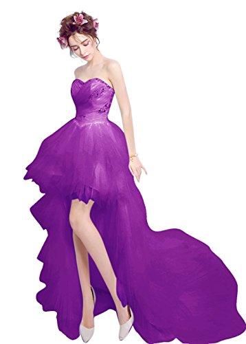 Besswedding Haut Bas Des Robes De Bal Retour À La Maison De Soirée De Mariage Chérie Purple2 Des Femmes