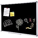 36 x 24 Inch Aluminum Frame Black Chalkboard for Wall | School Magnetic Blackboard with Sturdy Frame for Kids Teachers, Written on by Regular Chalk