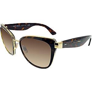 Dolce & Gabbana Women's DG2107 Sunglasses Gold / Brown Gradient 57mm