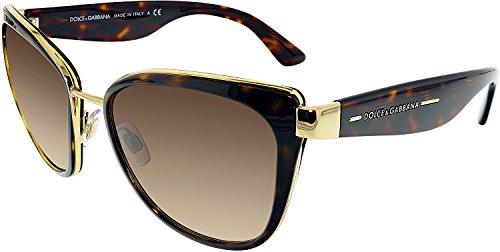 Dolce & Gabbana Women's DG2107 Sunglasses Gold / Brown Gradient 57mm