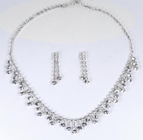 Bridal Austrian Rhinestone Necklace & Earring Set for Wedding, Prom, Quinceañera or Other Special Events #D0BFcs
