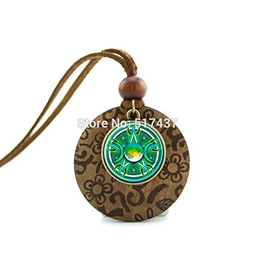 Pretty Lee New Design Long Wood Necklaces Triple Moon Goddess Pendant Triple Moon Goddess Art Glass Necklace