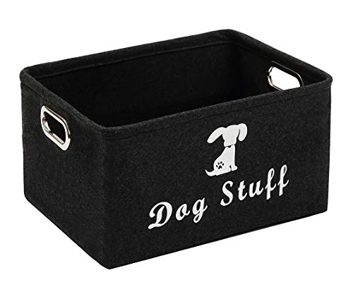 Geyecete Dog Apparel & Accessories/Dog Toys/Pet Supplies Storage Basket/Bin with Handles, Collapsible & Convenient Storage Solution for Office, Bedroom, Closet, Toys, Laundry(Dark Grey) from Geyecete