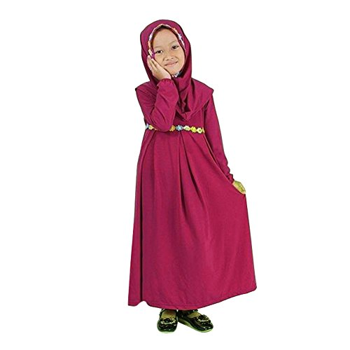 Muslim Dress Long Sleeves Skit Kids Long Dress Navy Blue/Green/Purple Suitable for 1-6 Years ()