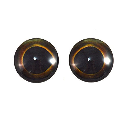 20mm Pair of Dark Glass Fish Eyes for Taxidermy Sculptures or Jewelry Making Pendants Crafts Art Doll Wire Wrapping DIY Flatback Cabochon