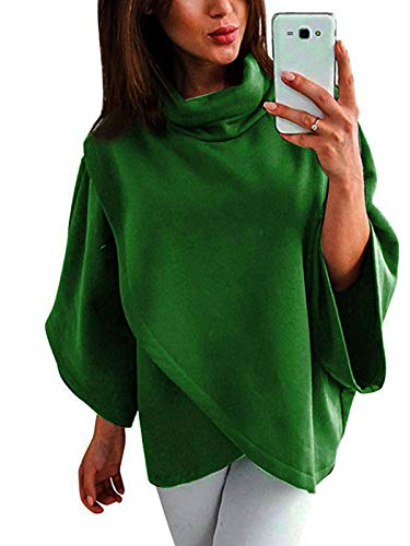 ZJFZML Pullover Sweatshirts for Women Female Cowl Neck Long Sleeve Trendy Fashion Casual Wear Knit Tunic Shirt Flared Swing Cute Casual Relaxed Fit Shirts and Blouse Workout Tops Green L