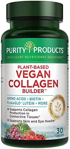 Plant-Based Vegan Collagen Builder - Organic Whole Foods Fruits + Veg, Silica, Lutein, Vitamin C, Biotin, Grape Seed - Amino Acids Glycine, Lysine + Proline Collagen Boosters - Once A Day - 30 Tablets