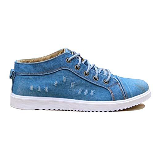 Scuola Casual Usuali Scarpe della Uomo Azzurro Ragazzo 01 Stivali Jean Stivaletti Denim Canvas Maschio Moda Vintage Alto Scarpe XqPwO8