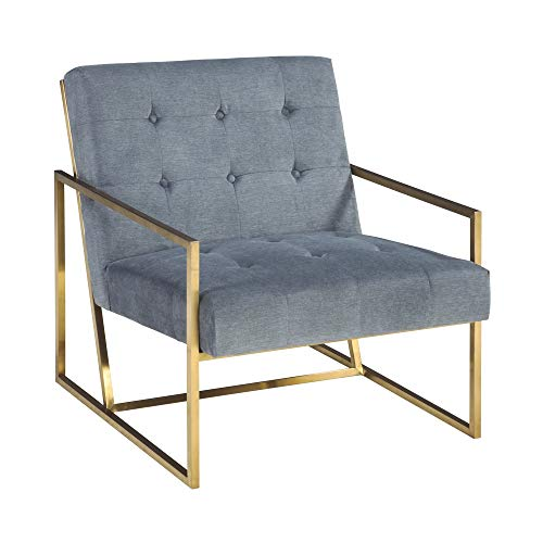 Ashley Furniture Signature Design - Seafront Accent Chair - Mid Century Modern - Cobalt - Bronze Legs (Chair Accent Metal Frame)