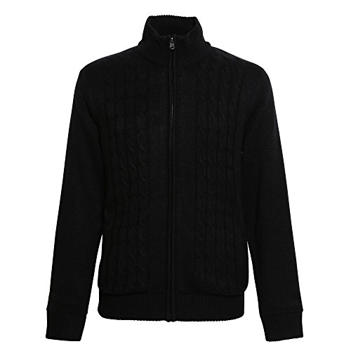 Affordable Fashion Mens Bedros Cable Knit Jacket (2XL) (Black) (Bedro 1)