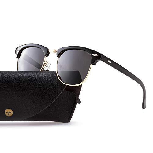 Tacloft Polarized Sunglasses Semi Rimless Frame Brand Designer Classic Women Men Retro Sun ()