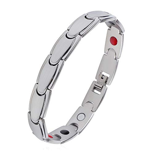 iZion Magnetic Therapy Bracelet Pain Relief for Arthritis Stainless Steel Health Wristband Gift for Men Women with Free Link Removal Tool - Bracelets Magnetic Fashion Therapy