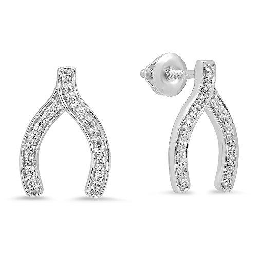Gold Wishbone Rings (0.20 Carat (ctw) 14K White Gold Round Cut White Diamond Ladies Fashion Wishbone Stud Earring 1/5 CT)