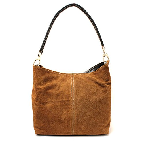 Real Slouch Suede Brown Ladies Shoulder Bag Hobo Medium Aossta Tote Handbag Italian Leather fqFOvxnp5