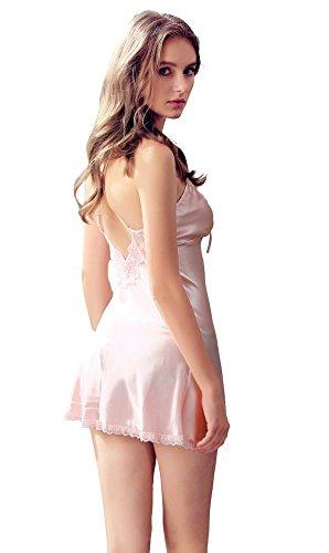 Pigiama senza Honofash cinghie da da Raso notte maniche regolabili Rosa notte Camicia breve Vestaglia Donna Indumenti C8wCqRH