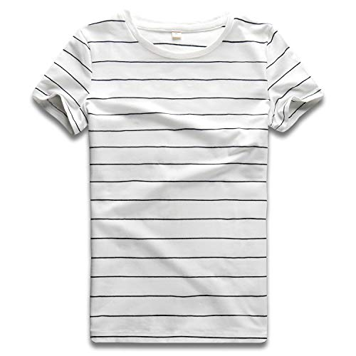 Striped T Shirt Women Crew Neck Short Sleeve Stripes Tee Top Black and White - Shirt Fitted Striped