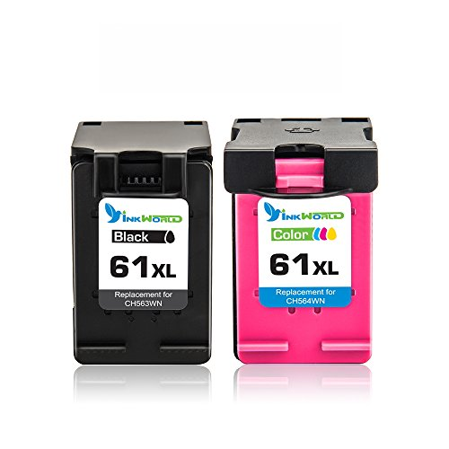 Inkworld Remanufactured Ink Cartridge Replacement for HP 61 HP 61XL Combo High Yield (1 Black, 1 Color) for HP Envy 4500 5530 5534 5535, HP Deskjet 1000 1010 1512 3050, HP Officejet 4630 2620 4632