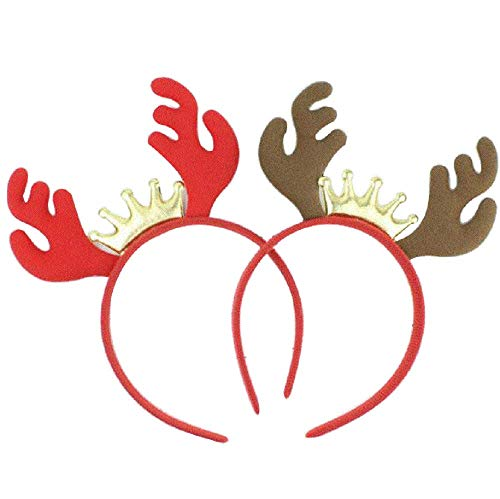 2pcs Christmas Headband Antler Headpiece Hair Band Christmas Fancy Dress Costumes Accessory Party Favors (Red & Brown) -