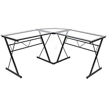 Tangkula Glass Computer Desk L Shaped Corner Desk With Black Frame Home  Office Furniture