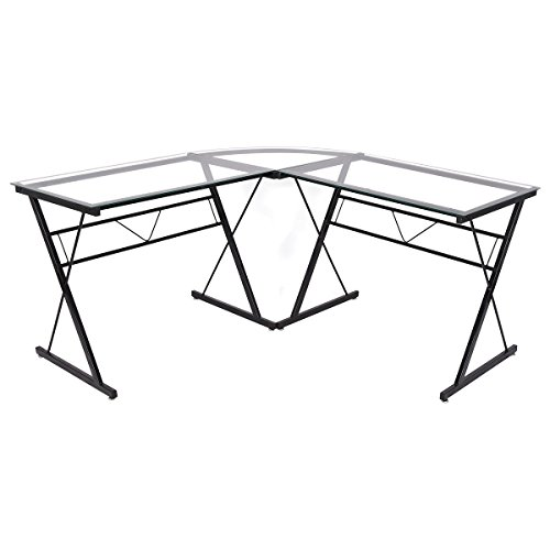 TANGKULA Computer Desk Modern Simple Style 3-Piece Metal Frame Study Laptop Writing Gaming Table Workstation Home Office Studio Glass L- shaped Corner Desk by TANGKULA