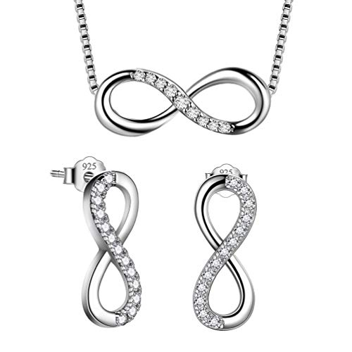 Besilver Infinity Heart Love Necklace and Earrings Set 925 Sterling Silver Crystal Women Jewelry Set for Mom Girlfriend Birthday FS0001W